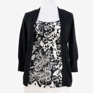 WHBM Black Silk Cardigan w/ Front Panel